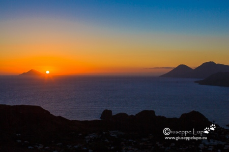 sunset on Lipari seen from Vulcano crater