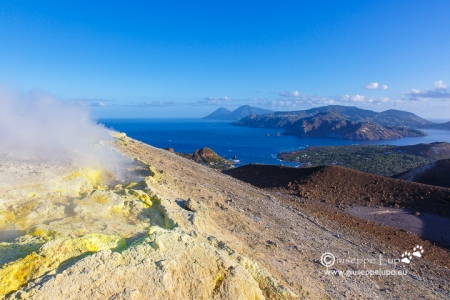at the morning at the Vulcano crater