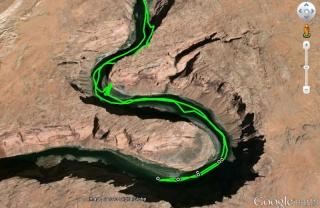GPX track of colorado river tour in google Earth