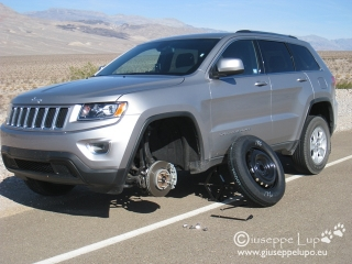 flat tire on the Jeep No #1 in the Death Valley