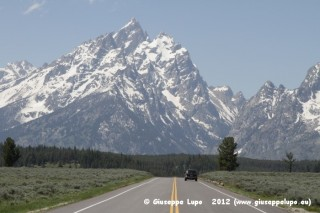 driving towards Grand Teton