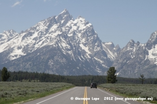 driving towards Grand Teton